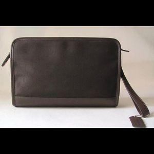 COACH Dark Brown Ballistic Nylon Leather Clutch